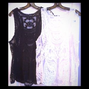 Ro & De Black & White Sheer Lace Tops - set of 2